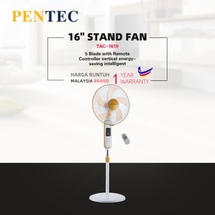 "PENTEC floor fan 16"" TAC-1619 5 Blade with Remote Controller vertical energy-saving intelligent remote control reservation 8H timing home mute"