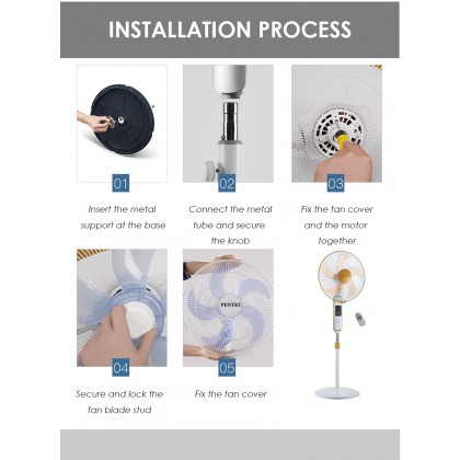 """PENTEC floor fan 16"""" TAC-1619 5 Blade with Remote Controller vertical energy-saving intelligent remote control reservation 8H timing home mute"""