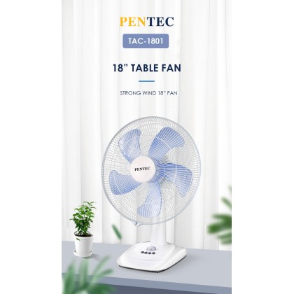 PENTEC Table Fan 18'' TAC-1801 Five 5 Blades with Timer Strong Wind