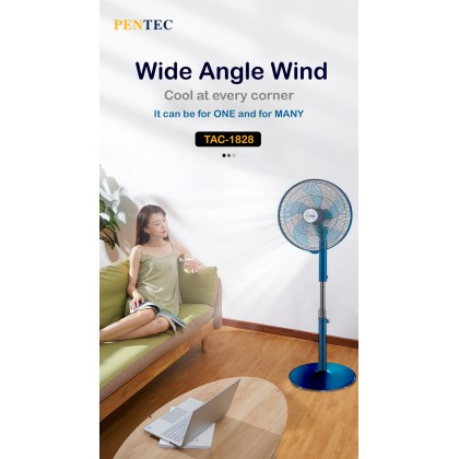 "PENTEC Floor Fan 18"" TAC-1828 5 Blade Aluminium Body Quiet Low Noise Durable"