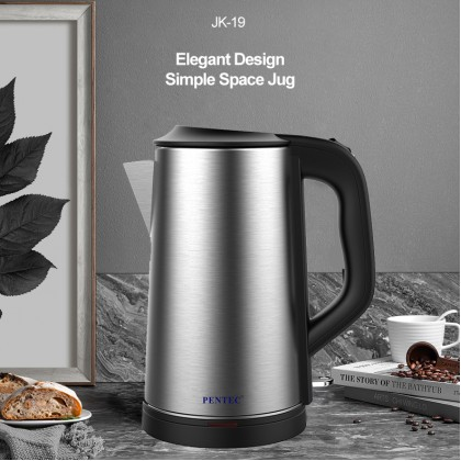 PENTEC Electric Jug Kettle JK-19 2L Stainless Steel Body New Design Minimalist Long Food Grade