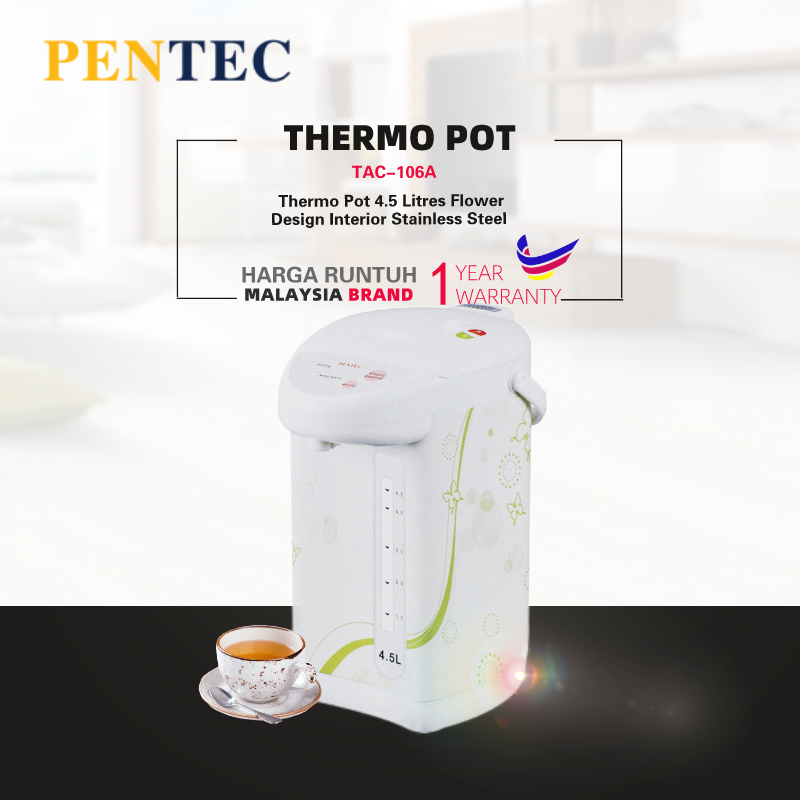 PENTEC Thermo Pot TAC-106A 4.5 Litres Flower Design Interior Stainless Steel TAC-106A
