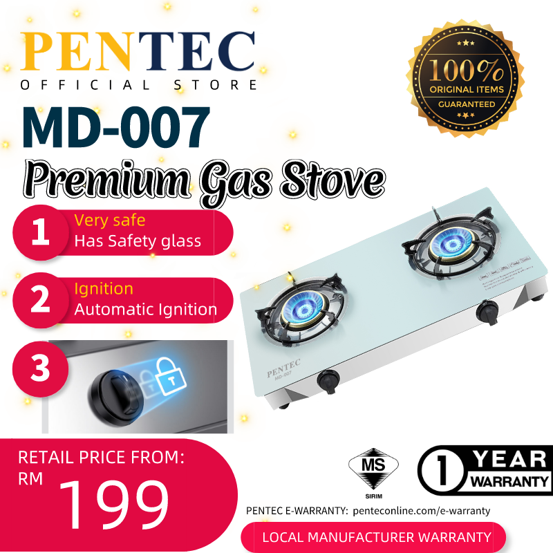 PENTEC Premium Glass Hob MD-007 Gas Stove 2 Fire Whirlwind burner flame