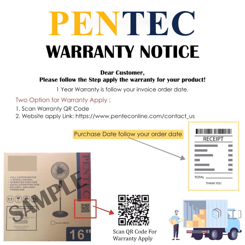 """PENTEC Stand Fan 18"""" TAC-1669 floor-standing electric fan lifting mute vertical dormitory"""
